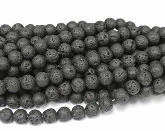 "8mm Round Lava Beads, Volcanic Lava Beads, 1 Strand (16""), Round Black Beads, Mala Beads,"