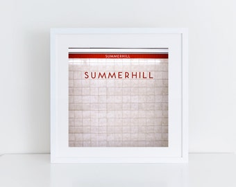 Toronto Subway Art - Summerhill Station Toronto Photography - Made in Canada - Subway Sign Retro Square Wall Art - Fits IKEA Ribba Frames
