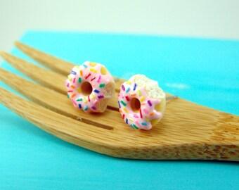 Pink Donut Earrings with Rainbow Sprinkles // MADE TO ORDER // Post Earrings // Mini Donuts Food Earrings