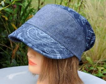Hat woman blue jeans and printed denim Leolix - T - 57 57.5 cm