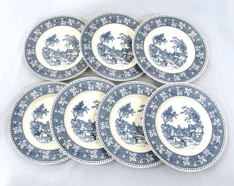 """Shakespeare Country 10"""" dinner plates - set of 7 - from Stratwood Collection - 1960s"""