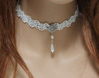 Bridal Choker, Dainty White Pearl Lace Wedding Choker Necklace, Victorian Jewelry