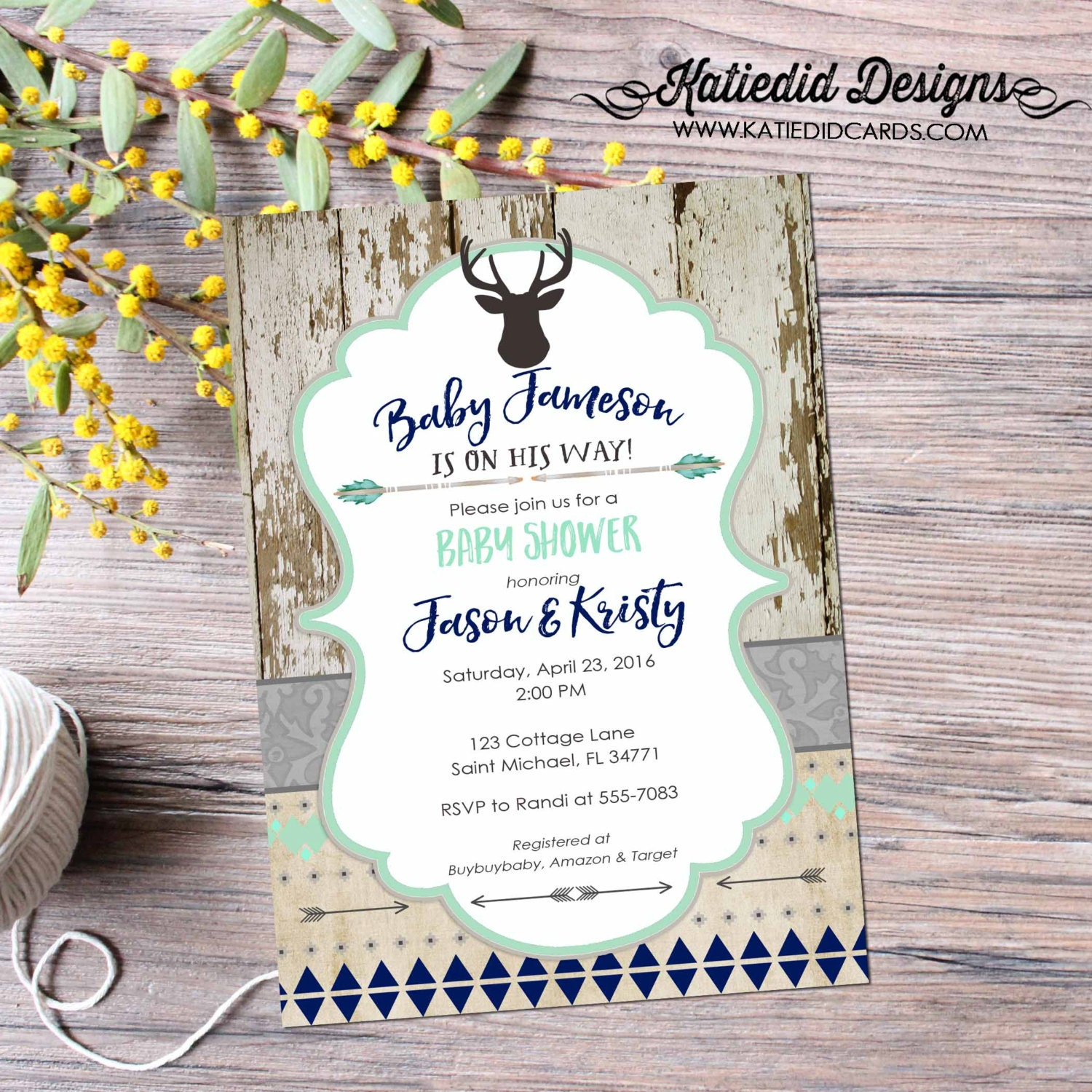 Deer baby boy shower invitation Rustic baby shower invitations