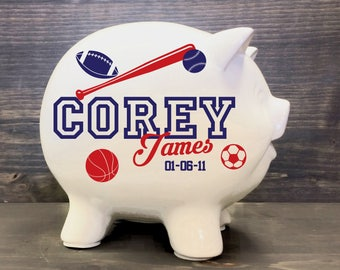 Football topiary baby shower sport topiary future football sports piggy bank with custom name for baby gift sport theme nursery basketball ceramic negle Image collections