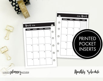 Dated Monthly Insert | 2018 Monthly Inserts | Printed Pocket Ring Planner Insert