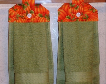 SET of 2 - Hanging Kitchen Hand Towels - Glitter Pumpkin Patch Print, Larger Sage Green Towels