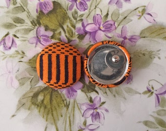 Wholesale Jewelry / Fabric Covered Button Earrings / Handmade Gifts for Her / Orange and Black / Hypoallergenic Stud Earrings / Bulk Lot
