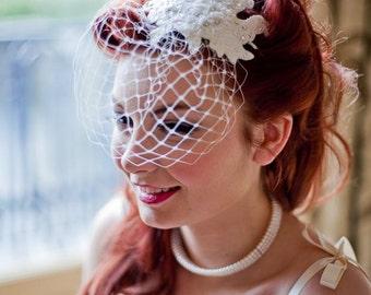 Naomi headpiece with birdcage