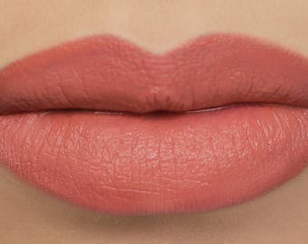 "Matte Peach Lipstick - ""Pumpkin"" light salmon orange vegan natural lipstick"