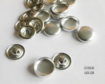 5x boutons à recouvrir, en métal argenté
