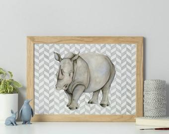 Rhino print - watercolour print - animal art - rhino illustration - watercolour animal art - African wildlife - sale - animal gift