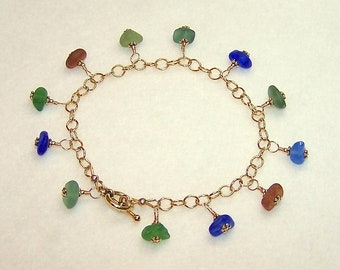 Genuine Sea Glass Bracelet 8 Inch Multi Color Gold Chain Beach Glass Jewelry with Toggle Clasp