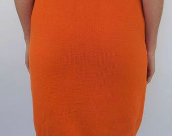 Vintage minimalist orange high waist knit skirt M