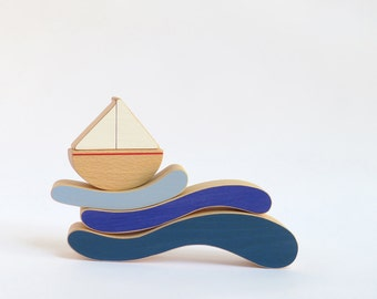 Wooden stacking toy for toddlers - Boat and waves