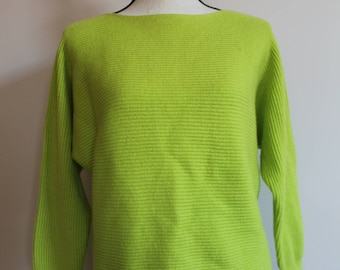 90's JCP Crop Top Wool Sweater Neon Green Women's Tag size XL