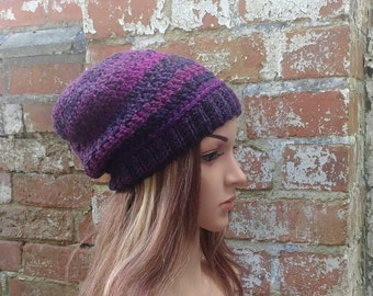 Beanie hat . Slouch beanie . Crochet hat . Purple hat . Colourful beanie  hat .Festival beanie hat .