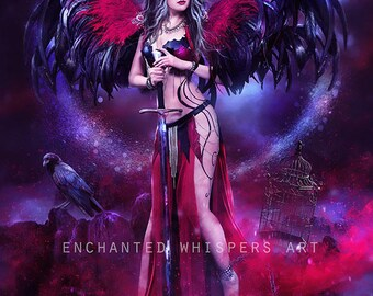 dark Goth Angel art print by Enchanted Whispers