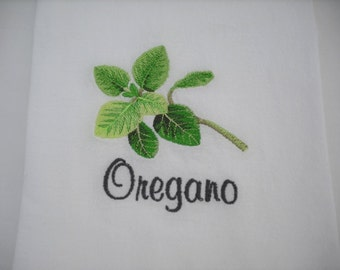 Oregano Herb Flour Sack Towel  Machine Embroidered.