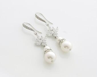 Pearl Drop Wedding Earrings Cubic Zirconia Bridal Earrings Swarovski Pearls Crystal Wedding Jewelry Pearl Dangle Earrings, Rosa