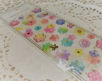 3D Kawaii Puffy Flowers Glitter Epoxy Sticker Sheet For Snail mail, cards, gifts, planners, photos, cell phones, diy, school, scrapbooking.