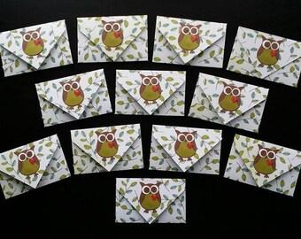 12 Handmade Owl Gift Card Envelopes / Owl Envelopes / Gift Card Envelopes /Money Envelopes / Business Card Envelopes / Owl / Owls / Envelope