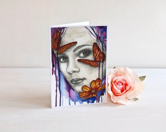 Abstract Girl With Butterflies Art | 5x7 Greeting Card | Watercolor Painting | Abstract Art | Birthday Card | Whimsical Thank You Card