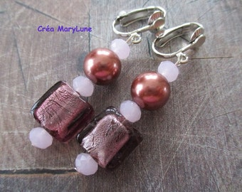 Earrings CLIPS for non-pierced old pink
