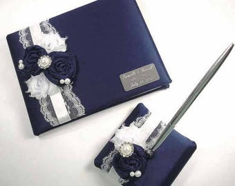 Personalized Navy Blue Wedding Guest Book and Pen Set with Handmade Roses, Chiffon Flowers and Engraving