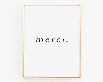 MERCI PRINTABLE | Thank You Wall Art | Word Art | Scandinavian Print | Black and White | Typography Wall Art | Minimalist Print