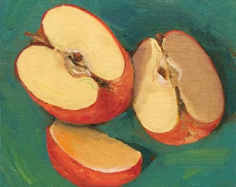 Small original painting of a cut apple by Dotty Hawthorne