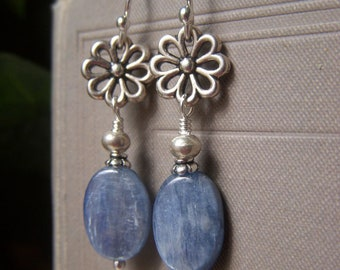 Blue Kyanite Earrings Sterling Silver, Denim Blue Gemstone Oval Dangle, Natural Stone Jewelry