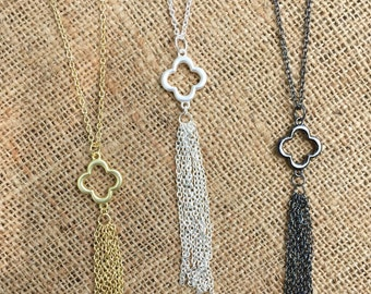 SALE!! Gold, silver, or pewter clover tassel necklace, pendant necklace, statement necklace, chain tassel necklace, layering necklace