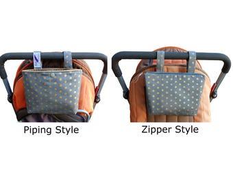 Pram caddy / pram organiser / mini wet bag / Makeup Bag - Montreaux drill - grey with golden spots