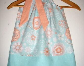 Girls dress, girl's pillowcase, aqua coral dress, blue coral dress, sizes 3,6,9,12,18 months , 2t, 3t, 4t, 5t, 6, 7, 8,9, 10, 12.14