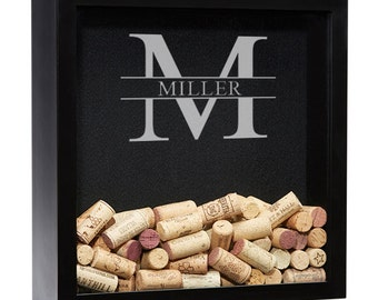 Wine Cork Shadow Box, Personalized Wine Shadow Box, Wine Cork Holder, Wine Cork Keeper, Wedding Gift, Bridesmaid Gift