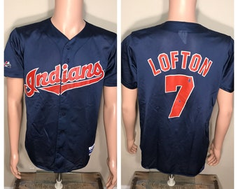 Vintage Kenny Lofton mesh jersey // 90s Retro Throwback Cleveland Indians baseball // adult size large // Kenny Lofton jersey shirt // 90s