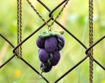 Grape pendant - long cluster necklace with bunch of grapes - fruit pendant for teens - large kawaii pendant - purple fruit jewelry [N42]