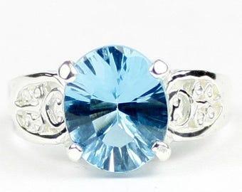 Quantum Cut Swiss Blue Topaz, 925 Sterling Silver Ladies Ring, SR369