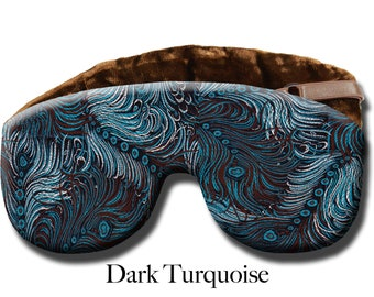 Adjustable Weighted Travel Sleep Eye Mask Pillow - Satin Brocade/Velvet – Flax Seed Filled - Optional Lavender Scent – Dark Turquoise