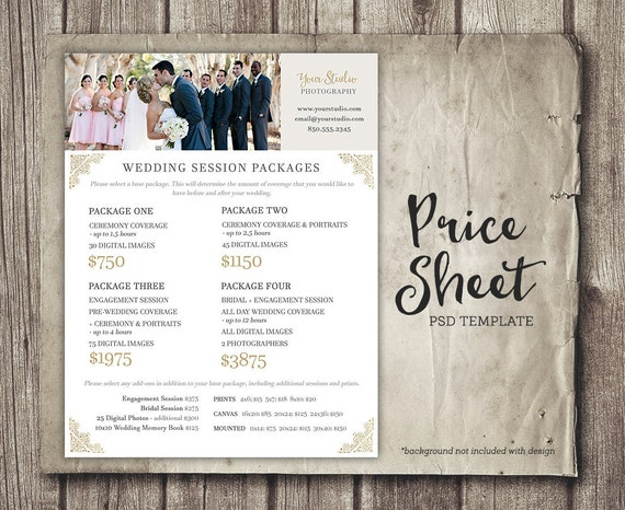 Photography Prices Wedding: Wedding Photography Price Sheet Price List Template