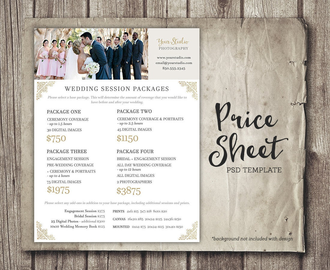 wedding photography price sheet price list template. Black Bedroom Furniture Sets. Home Design Ideas