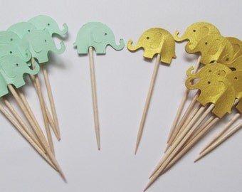 Mint Green and Gold Elephant Cupcake Toppers, Baby Shower Cupcake Toppers, Baby Elephant Foodpicks, Elephant Baby Shower Toppers