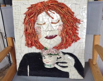 """Unique 3D Mixed Media Mosaic Wall Art entitled """"Emotion Blossomed On Her Cheeks"""""""