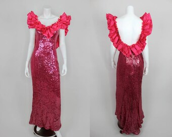 Vintage Sequin Dress Pink Alyce Designs Ruffle Fishtail Size Small Formal Evening Gown Homecoming Prom