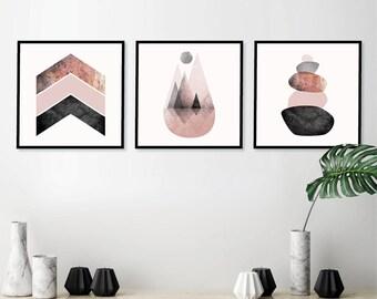 Set Of 3 Downloadable Prints Printable Scandinavian Modern Art Mountains  Balancing Stones Chevrons Poster Blush Pink