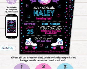 Roller Skating Invitations, Roller Skating Birthday Party Invitations - Roller Skate Invitations - INSTANT ACCESS - Edit with Corjl.com