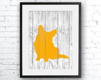Corgi 2 art illustration, dog art, Corgi painting, dog illustration, Wall art, Rustic Wood art, Animal print, Home Decor, Animal silhouette,