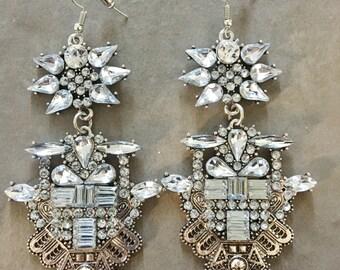 Statement Oversized earrings Statement earrings chandelier earrings Crystal Chandelier Earrings tassels Earrings Vintage Style big earrings