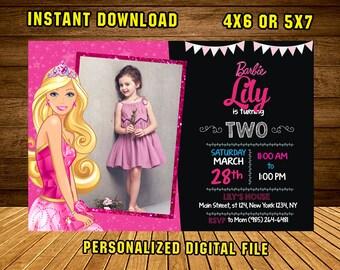 Barbie Invitations/Barbie Card/Barbie Birthday/Barbie Party/Barbie Printable/Girl Birthday Party/Barbie Party Invite/Barbie Girl/F0029