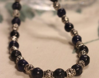Lapis lazuli and silver bead necklace